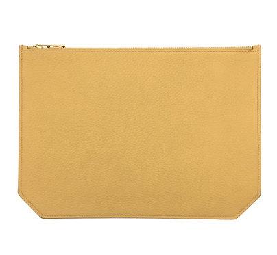 """Monday"" clutch - Grain leather sandy yellow"