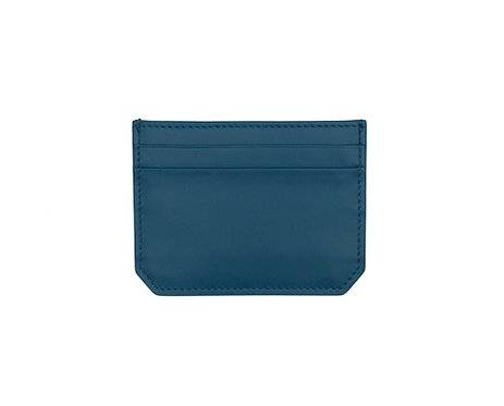 """Weekend"" mini card wallet - Soft leather petrol blue"