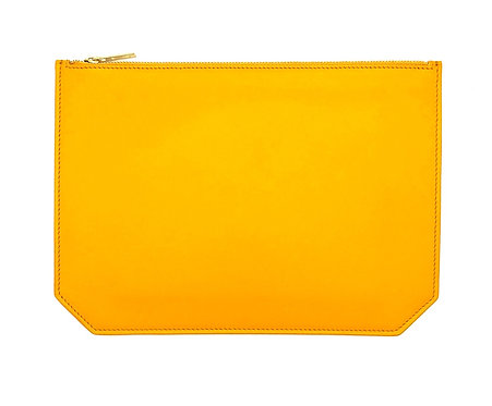 """Monday"" clutch - Soft leather curry yellow"