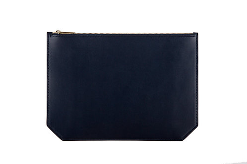 """Monday"" pouch - Soft leather navy blue"