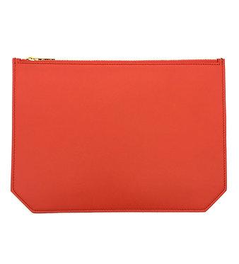 """Monday"" clutch - Soft leather sapphire orange"