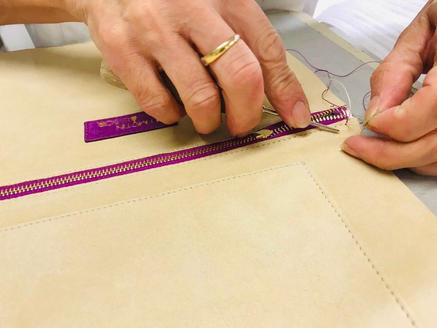 The stitching of the big pouch