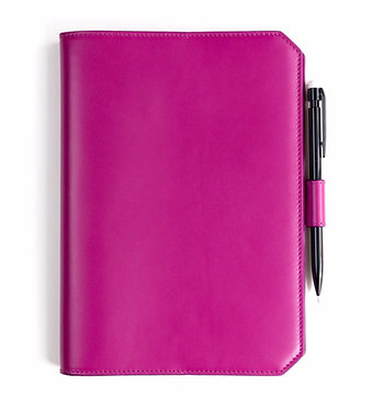 """""""Morning"""" notebook - Soft leather pink fuchsia"""