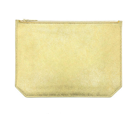 """Monday"" clutch - Suede sparkly gold"