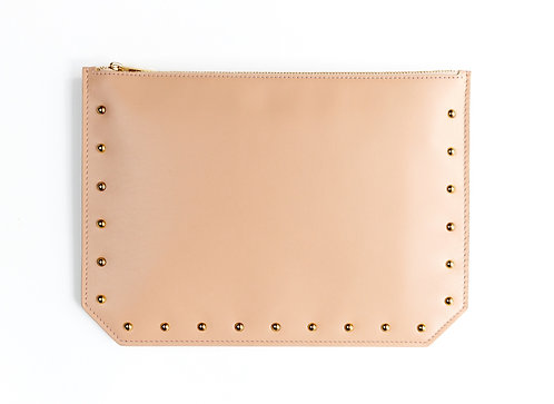 """Everyday"" pouch - Soft leather nude"