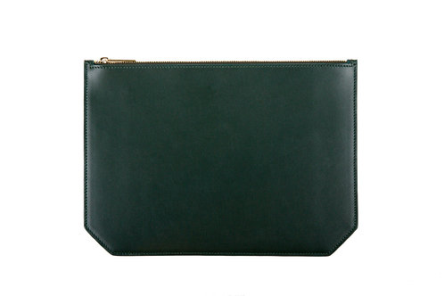 """Monday"" pouch - Soft leather pine green"