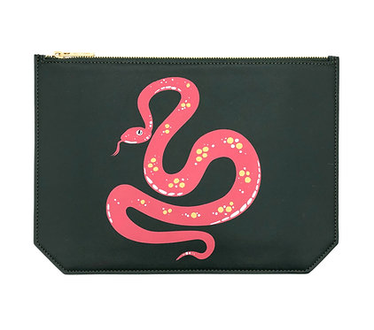 """Monday"" pouch -Soft leather pine green snake design"