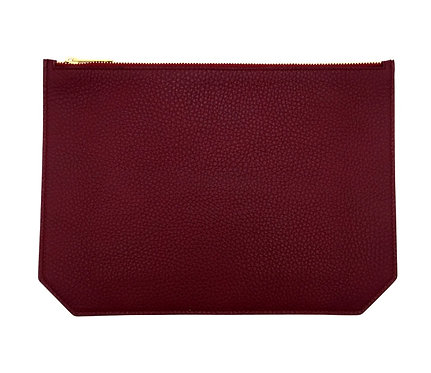 """Monday"" pouch - Grain leather wine red"