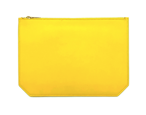 """""""Monday"""" clutch - Soft leather sunny yellow"""