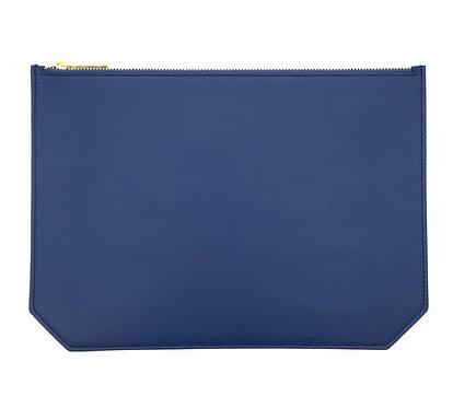 """""""Monday"""" pouch - Soft leather denim blue"""
