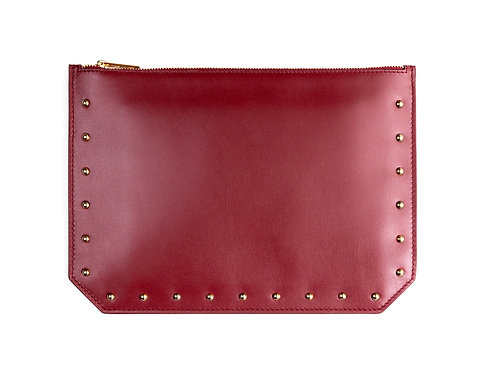 """""""Everyday"""" pouch - Soft leather wine red"""