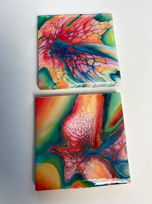 Rainbow Hand Painted Coasters