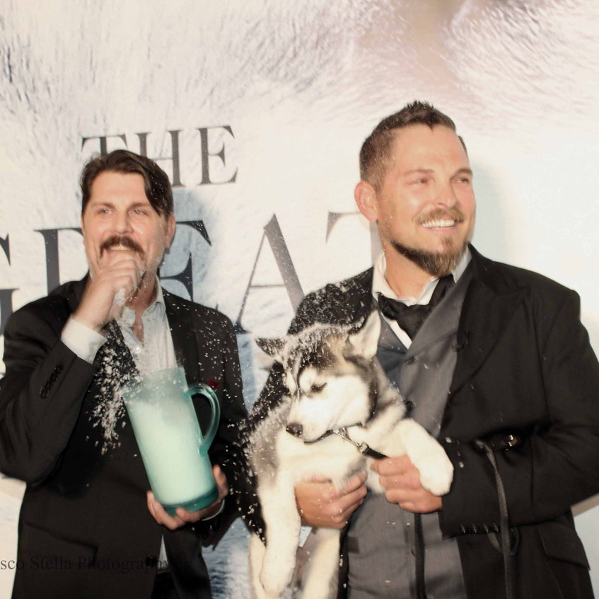 Johnny Dowers and Brian Presley with dog