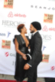 Taraji P. Henson and Jussie Smollett at the Heroes in the Struggle award and reception ceremony at Fox Studios on September 16, 2017 on the red carpet.  Photo Credit: Stella C. Gomez.