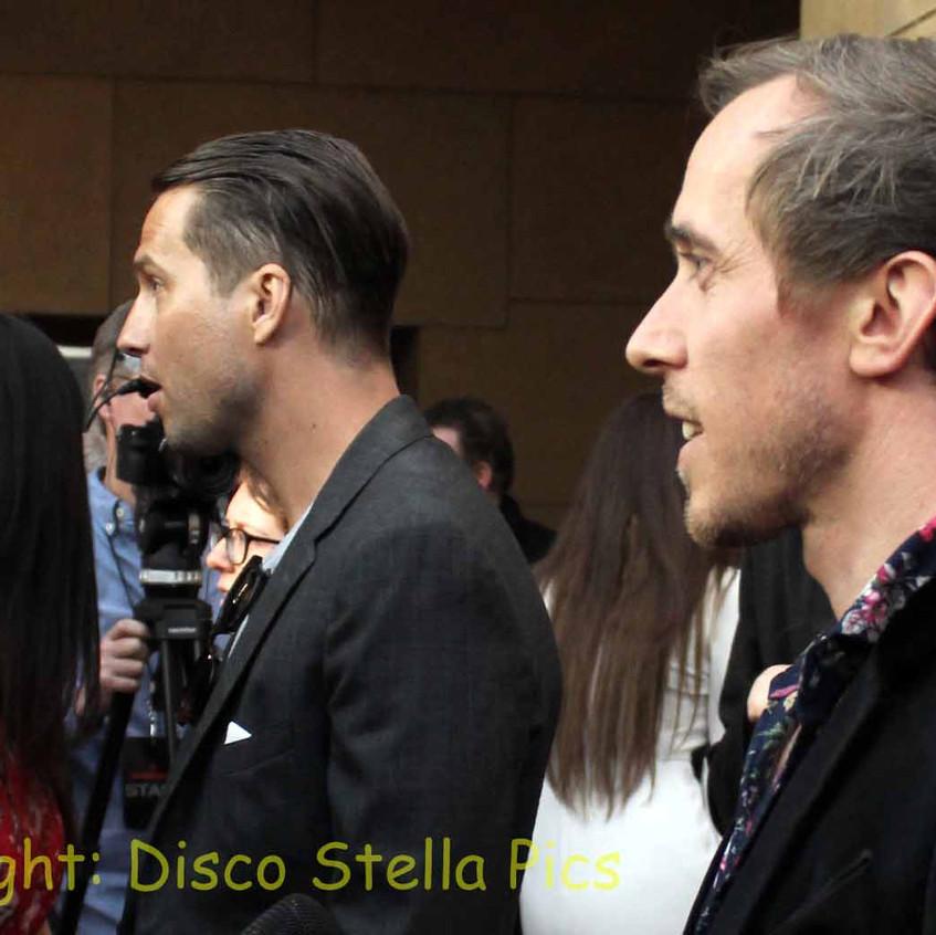 Logan Marshal-Green and Benedict Hardie being interviewed