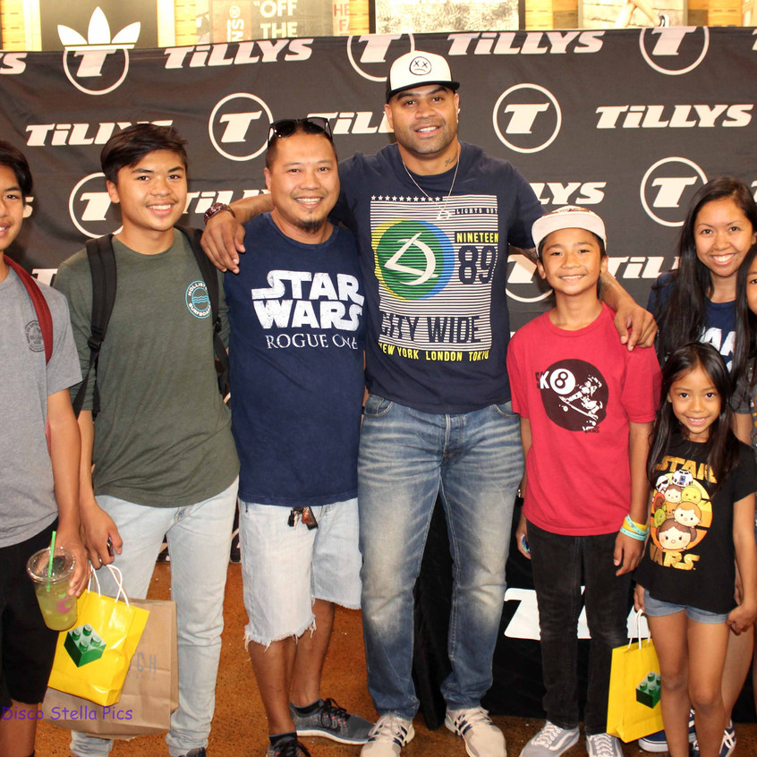 Shawne Merriman with a family