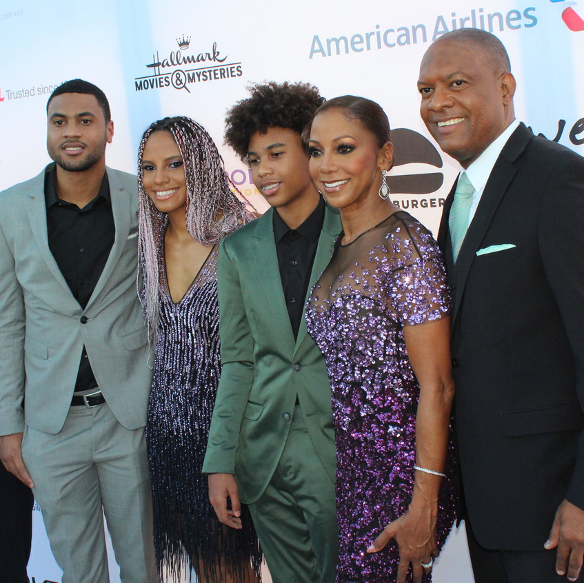 Peete Family on the purple carpet