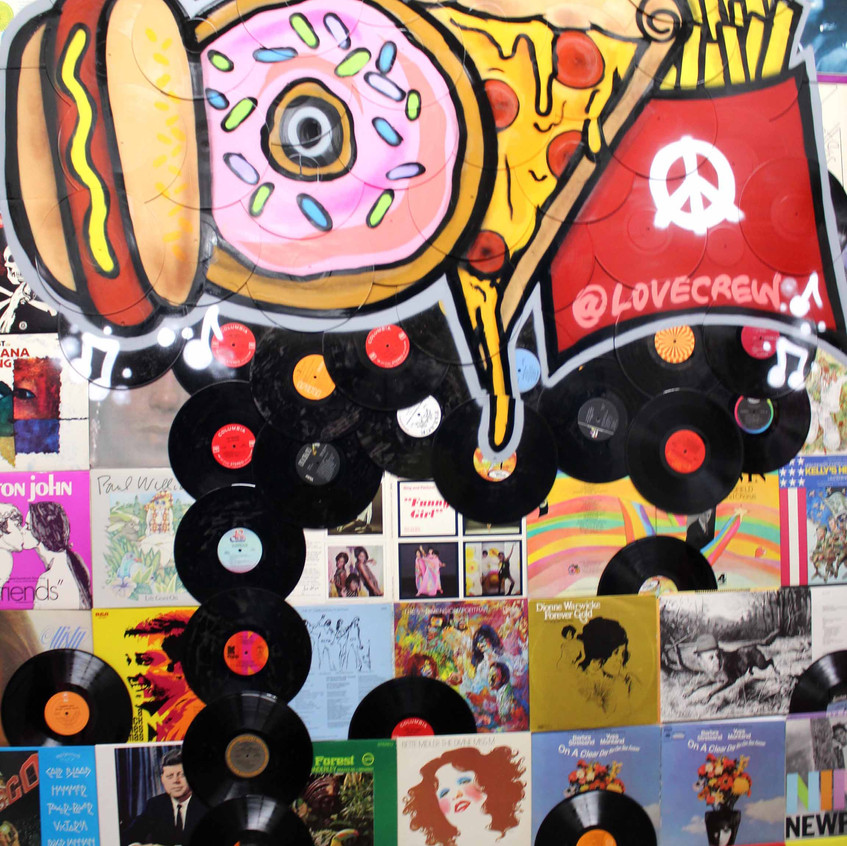 Records and sweets pop art