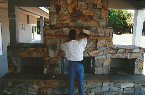 Naples Florida stone fireplace