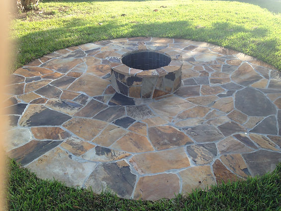 Orange Black Flagstone Patio