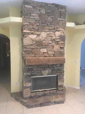 Drystack Ozark Moss  stone Fireplace