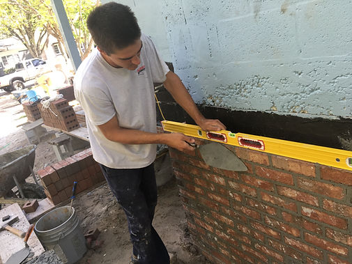 installing brick wall
