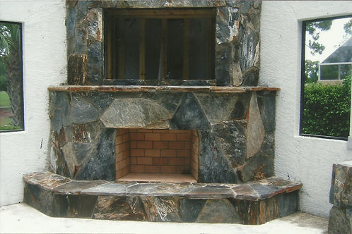 Gray Stone Fireplace