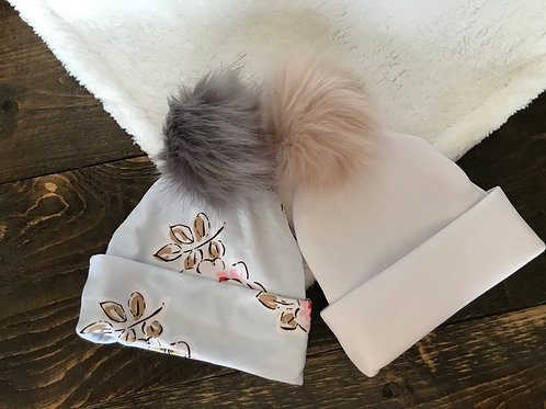 Baby Hat w/ Fur PomPom