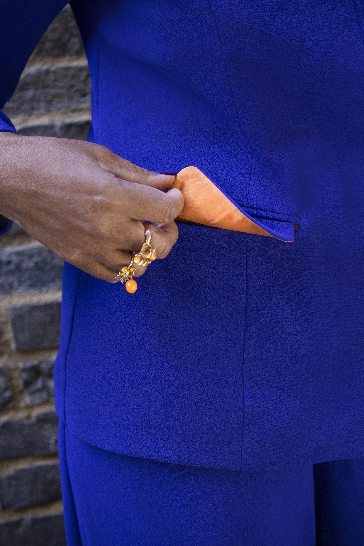 Blue sleeve detail