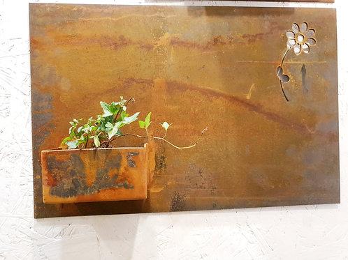Design corten planter on wall 40x60cm
