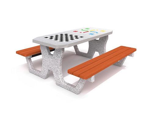 Betona galds šaham - dambrete / Ludo spēle 02
