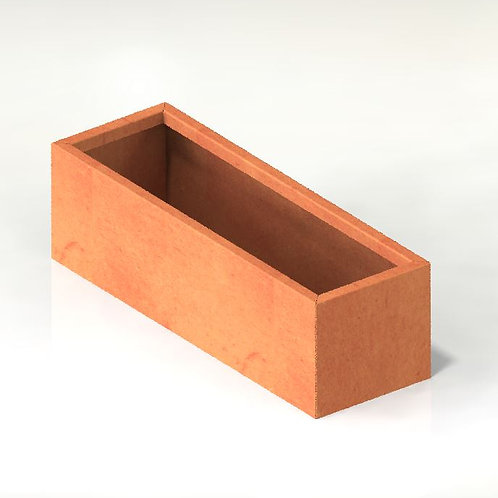 Corten rektangulära kruka med botten 200x50x80(h)cm IK