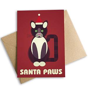 Santa Paws Cat Christmas Card