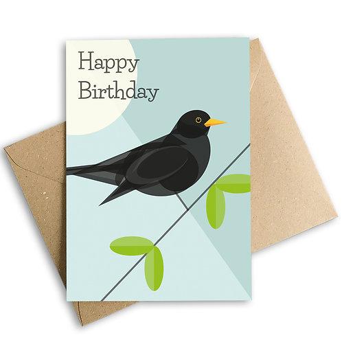 Blackbird Birthday Card