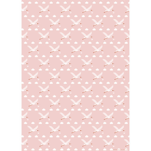 New Baby Pink Stork Wrapping Paper