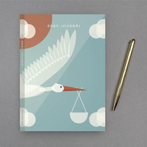 A5 Stork Baby Journal - Blue