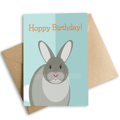 Rabbit Hoppy Birthday Card