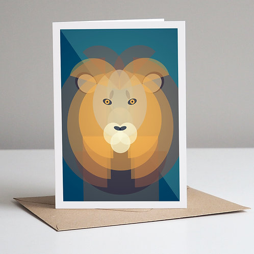 Mid Century Lion Greetings Card