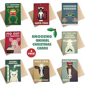 Amoosing Animal Christmas Cards - 8 Pack