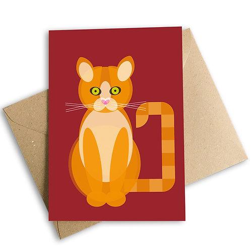 Ginger Cat Greetings Card
