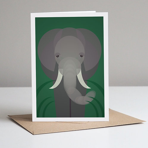 Mid Century Elephant Greetings Card