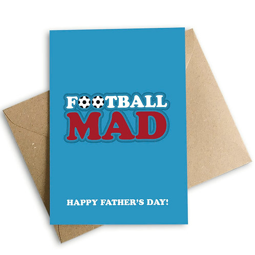 Football Mad Dad Happy Father's Day Card
