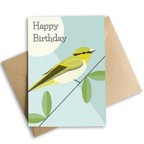 Wood Warbler Birthday Card