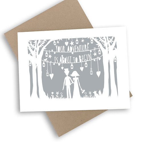 You're Adventure Is About To Begin Wedding Card