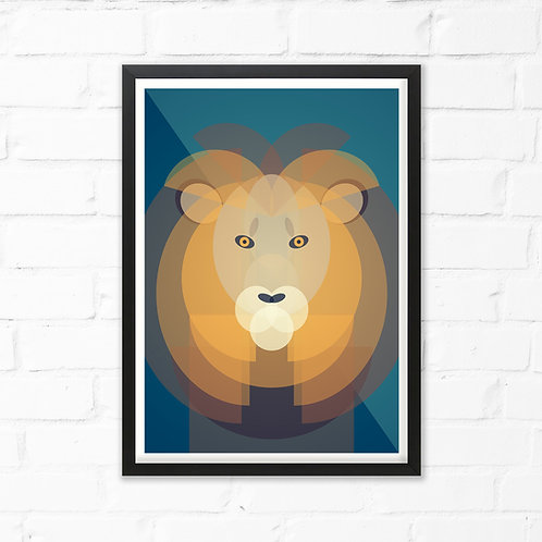 Mid Century Lion Print
