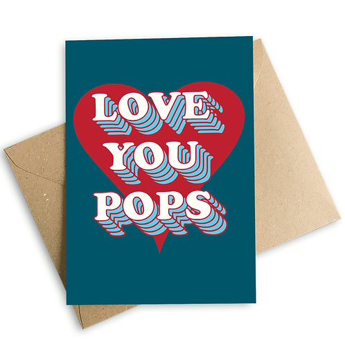 Love You Pops Retro Heart Father's Day Card
