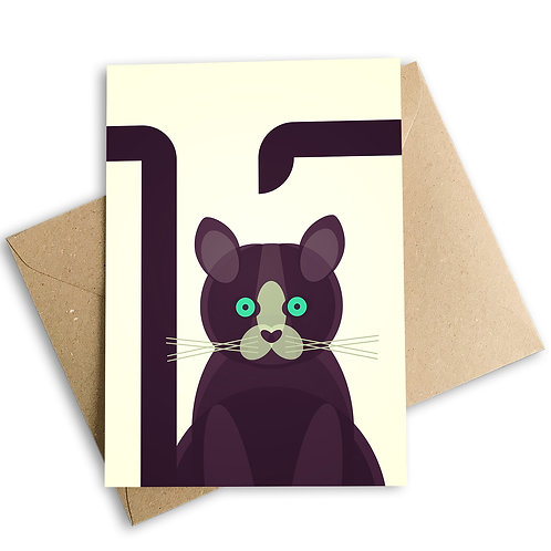 Black Cat 1970s Greetings Card