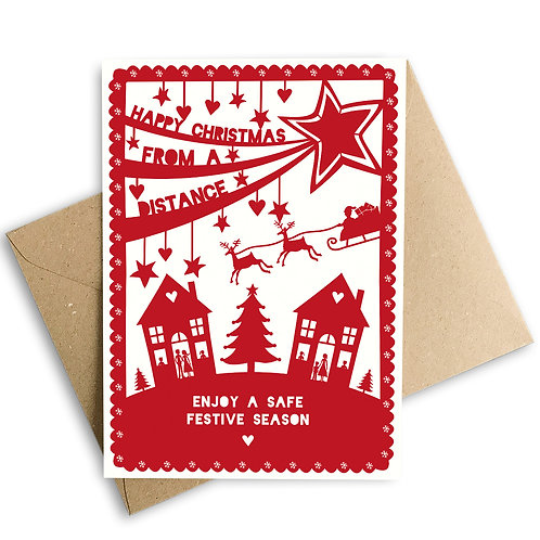 Happy Christmas From a Distance Card
