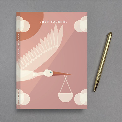 A5 Stork Baby Journal - Pink