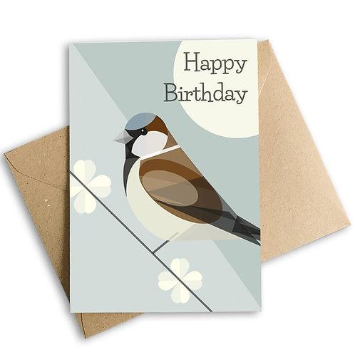 Sparrow Birthday Card